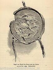Antique print Charles the Bold seal deed /  c1880 Karel de Stoute