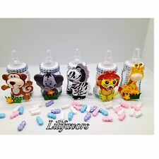 12 Fillable Baby Boy/Girl Animal Jungle Bottles Favors Party