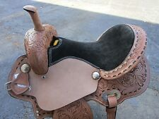 15 16 BARREL RACING SILVER SHOW PLEASURE TOOLED LEATHER WESTERN HORSE SADDLE NEW