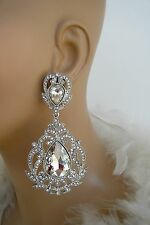 """DRAG QUEEN SILVER CRYSTAL CLIP ON EARRINGS PAGEANT BRIDAL 3.5"""" X 1.75""""  BIGGIES"""