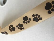 "30 Yards ~ Tan with Brown Paw Prints ~ Satin Ribbon ~ 7/8"" Wide ~ Dog Lovers"