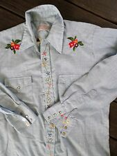 H BAR C blue chambray embroidered floral long tail western vintage shirt MEDIUM