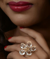 Trinetra Gold Plated Ring with Crystal Stones - RFJ0023