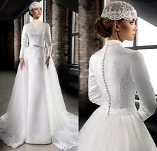Long Sleeve High Neck Lace Muslim Vintage Bride Wedding Dress Size6-810-12-14-+