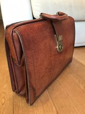 Vintage Leather Doctors Satchel Case 1950's - Original Key - Attaché Briefcase