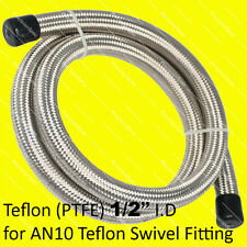 "1/2"" 13mm (AN10 10AN) STAINLESS STEEL BRAIDED TEFLON PTFE FUEL OIL HOSE 1M 3.3FT"
