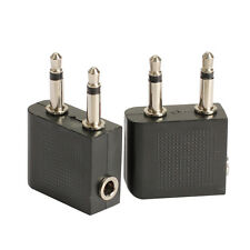 2pcs 3.5 mm to 2 x 3.5 mm Airplane Headphone Audio Jack Plug Adapter