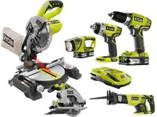 Ryobi ONE+ 18-Volt Lithium-Ion Cordless Combo Kit with Miter Saw (6-Tool) New