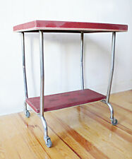TABLE DESSERTE A ROULETTES STRUCTURE METAL CHROME VINTAGE LOFT DESIGN INDUSTRIEL