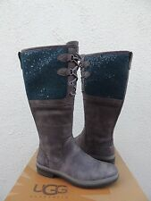 UGG ELSA CHARCOAL SEQUIN WATERPROOF LEATHER DUCK/ SNOW BOOTS, US 7/ EUR 38 ~NEW