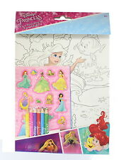 Disney Princess 15 Piece Colour Set with Colouring sheets, Pencils & Stickers