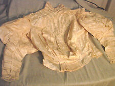 Vintage Edwardian Bodice Silk Ivory Mutton Sleeves Lace Display Study B34 Pouter