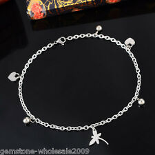 W09 1PC Stainless Steel Bracelet With Butterfly Heart Charms Silver Tone 26.5cm