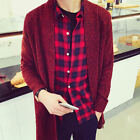 Men's New Stylish Casual Long Sleeve Knitted Long Cardigan Coat Jacket Sweaters