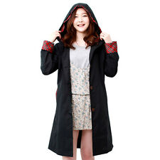 Fashion Women Black Waterproof Long Sleeve Raincoat Checks Rainwear Parka Poncho