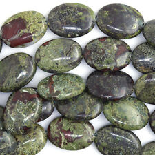 "25mm dragon blood jasper flat oval beads 7.5"" strand 8pcs"