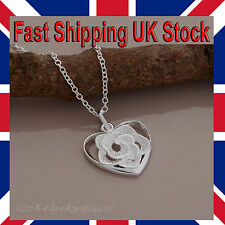 "Ladies 925 Silver Flower Heart Necklace Rose Pendant 18"" 925 Girls Free Gift Bag"