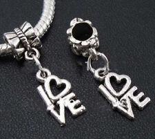 Charm Love Silver Slide Dangle Fits Heart Fit Cute Tone 3d Bracelets Bracelet