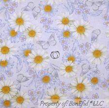 BonEful Fabric FQ Cotton Quilt Purple White Yellow Daisy Flower Butterfly Calico