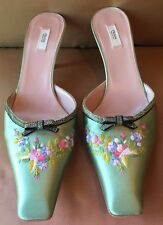 PRADA Green Silk Embroidered Floral Pattern Snakeskin Trim Bow & Heel Mules~38.5