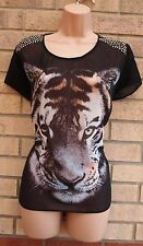 G21 BLACK  FUNKY TIGER LION FACE PRINT SILKY BAGGY CAMI TUNIC BLOUSE TOP 14 L