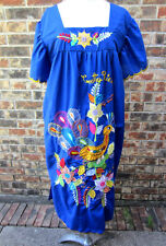 VINTAGE MEXICAN EMBROIDERED BOHO UNIQUE BLUE DRESS