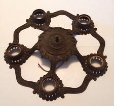 Antique Art Deco Cast Iron 5 Light Flush Mount Ceiling Fixture Restoration