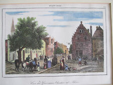 1840s Home of Dutch Governor Albany NY Hand Colored Woodcut print Milbert matted