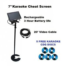 "7"" LED Karaoke Player Rechargeable Monitor Stand RCA Video TV Karaoke Laptop Use"