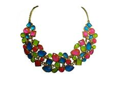 Neon Pink Green Blue Diamond Statement Fashion Necklace in Gold & Diamiond Chain