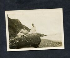 C1920's Original Phot of Two Ladies sitting on a Rock by a Beach