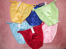 LOT OF 6 PRETTY & COMFORTABLE STRING SATIN PANTY M SIZE