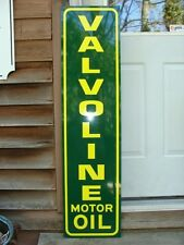 VALVOLINE OIL VINTAGE 30's VERTICAL STYLE 1'X4' METAL DEALER SIGN-GARAGE ART