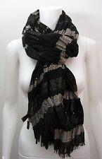 LORO PIANA Silk Cashmere Linen Black Brown Metallic Sequin Detail Scarf