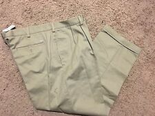 NWT IZOD American Chino Classic-Fit Khaki Double Pleat Pant 42X30 MSRP $50******