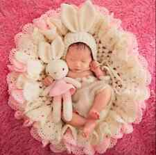 Newborn Baby Girl Photo photography props Double Layer Flower Blanket Hat Rabbit