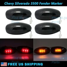 4x Smoke Side Fender Dually Bed Marker LED Lights Lights for GMC Chevy Pickup
