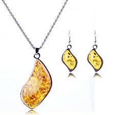Leaf shape amber stones necklace and earrings yellow stone pendant set