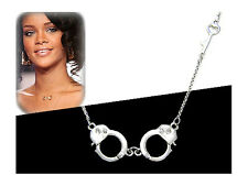 Celebrity Style Silvertone Handcuff & Key Necklace