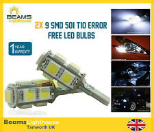 2x 9 SMD LED 501 T10 NO ERROR Xenon White Light Bulb FORD FIESTA FOCUS GALAXY