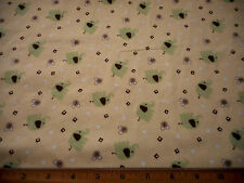Flannel Fabric BTY New Clearance Green Elephants Yellow Cotton David Text Bolt