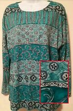 Long Sleeve Knit Top MED Teal Print Forenza Limited Scoop Neck Tunic Blouse NWT