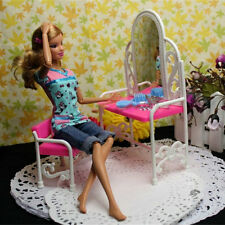 Dressing Table & Chair Accessories Set For Barbies Dolls Bedroom Furniture UL