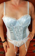 WOW!!! WINLOVE POWDER BLUE LACY SATIN CORSET BUSTIER SHAPER WITH GARTERS 36B NWT