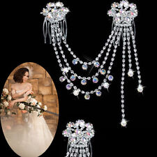 Women Wedding Bride Bridal Crystal Rhinestone Hair Pins Comb Headband Head Chain
