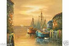"Oil Painting on Canvas Stretched 20""x24""- Harbor at Sunset"