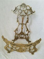 Vintage Solid Brass Ornate Cut Outs Table Top Book Music Stand Holder