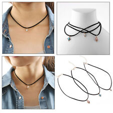 3Pcs/set New Fashion Women's  Multi-layer Leather Rope Necklace Pendant Jewelry