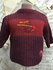 New SUCRE D'ORGE France Baby Boy WOOL SWEATER Wine OWL 60cm 3m SHOWER GIFT NWT
