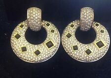 moving sale 80's vintage swarowski clip Earrings Clips Solid Crystal And Black
